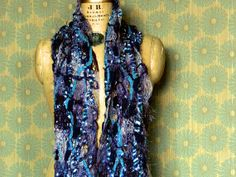 Textured Ribbon & Fringe Yarn Scarf Blue and by textilecouture, $42.00