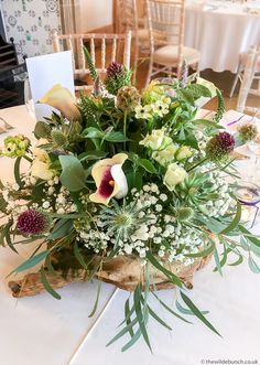 A Wilde Bunch wedding table design at Coombe Lodge featuring a wild mix of flowers on one of our specially imported wood root pieces. These always make for stunning 'Natural' designs Lodge Wedding, Wedding Table, Wedding Events, Wedding Season, Wedding Flowers, Floral Design, Table Decorations, Natural, Wood