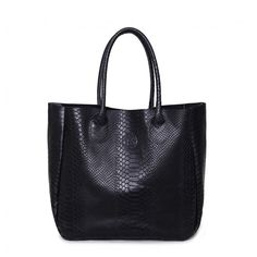 black tote bag, shoulder bag, TES