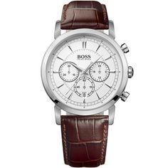 247b065a Hugo Boss 1512871 Chronograph ZB weiß braunes Leder 3 ATM 42 mm |  Markenuhren.de