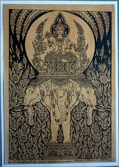 Thai traditional art of Indra on the three Headed Erawan Elephant by silkscreen printing on sepia paper