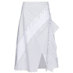 Cédric Charlier Layered pinstriped cotton skirt (2,215 CNY) ❤ liked on Polyvore featuring skirts, white black, double layer skirt, tiered cotton skirt, slit skirt, straight skirts and white and black skirt