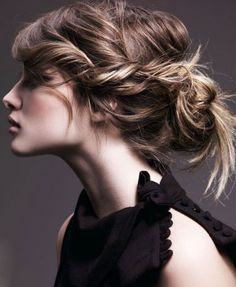 tousled and twisted updo.