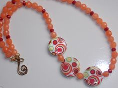Assymetrical Orange Dot Necklace by EriniJewel on Etsy