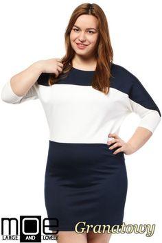 Kontrastowa damska sukienka w rozmiarze Plus Size.  #cudmoda #moda #ubrania #odzież #clothes