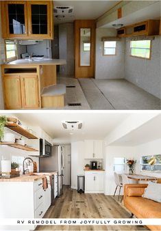 This RV remodel from JoyfullyGrowing will leave you speechless! See the before and after on MountainModernLife.com #rvremodel #camperremodel #rvrenovation #beforeafter #campertour #designvibes #camperenovation #camper #campermakeover #tinyhome #tinyliving