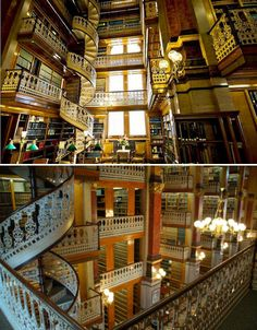 A lacy white banister flows along tier after tier of books and down a beautiful spiral staircase at the Iowa State Capitol Law Library, located in the Capitol building.