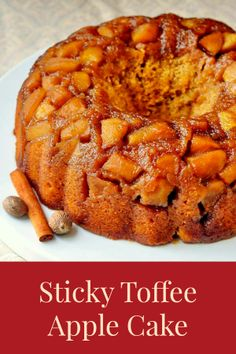 Sticky Toffee Apple Cake - inspired by a sticky toffee pudding recipe this moist, uniquely textured toffee cake gets an added flavor boost from sweet caramelized apples. A perfect Sunday dinner dessert with vanilla ice cream; a delicious weekend brunch addition too.