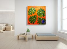 Modern Tropical Art   Modern Art of Florida   Laelanie Art Gallery Abstract Art For Sale, Tree Paintings, Palm, Gallery Wall, Tropical, Tapestry, Colorful, Home Decor, Hanging Tapestry