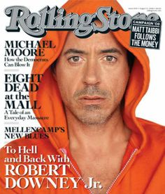 Iron Man superhero actor Robert Downey Jr., 43, is on the cover of Rolling Stone magazine