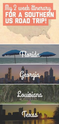 My 2 week itinerary for a southern US road trip, including the states of Florida, Georgia, Louisiana, and Texas! / A Globe Well Travelled #roadtripbucketlistsusa #texastravel