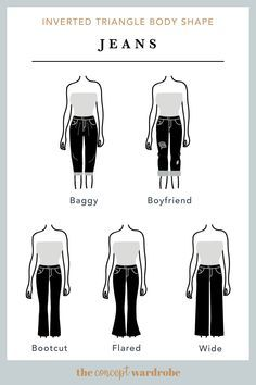 A selection of great jean styles for the inverted triangle body shape. Styles that flare from the knee as well as embellished styles work best for this body shape. V Shape Body, Hourglass Body Shape, Body Shapes, Inverted Triangle Body Shape, Inverted Triangle Outfits, Tall Girl Fashion, Fashion Terms, Fashion Styles, Types Of Jeans