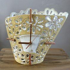 Standing Clock With Flowers from Damessa #handmade #unique #ceramic #clock #clay #interior #design #decor #awsome #beautiful #amazing