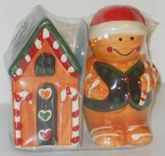 """Adam Bargain Attic"" - Ceramic type Salt and Pepper Shaker ~ Gingerbread House and Gingerbread Man by BLS, http://www.amazon.com/dp/B009VRLXWC/ref=cm_sw_r_pi_dp_R13Zqb0K64H3S"