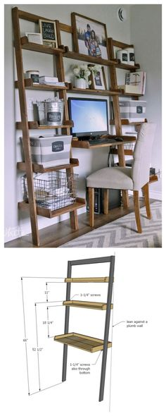 DIY desk made with all 1x boards! small space office! Ana White | Build a Leaning Wall Ladder Desk | Free and Easy DIY Project and Furniture Plans: