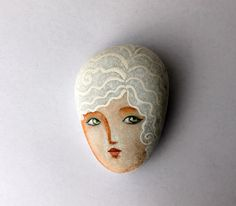 Painted stone. Ready to ship painted pebble. Beach by sabiesabi