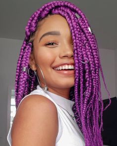 Newest Pic purple Box braids Style Without a doubt, the times not too some time past, every time a skilled African-American girl do not Purple Box Braids, Colored Box Braids, Big Box Braids, Box Braids Styling, Purple Hair, Afro Hair Style, Curly Hair Styles, Box Braids Hairstyles, Protective Hairstyles