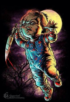 Chucky by Coki Greenway Horror Posters, Horror Icons, Horror Movie Characters, Horror Movies, Slasher Movies, Arte Bob Marley, Chucky Movies, Real Life Horror Stories, Motion Images