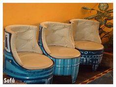 Afbeeldingsresultaat voor ideias com tonel Barrel Furniture, Diy Outdoor Furniture, City Furniture, Recycled Furniture, Furniture Upholstery, Furniture Making, Furniture Design, Drum Seat, Drum Chair