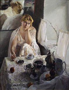 By Anatoly Korobkin, Russian painter, born 1974 Russian Painting, Russian Art, Figure Painting, Soviet Art, Portraits, Coffee Art, Female Art, Female Portrait, Saatchi Art