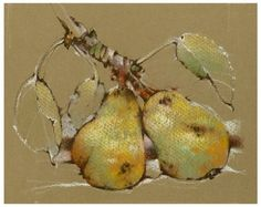 pastel, pears, 2005, still life, drawing