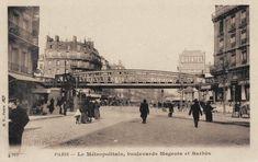 Le boulevard de Magenta au carrefour avec le boulevard Barbès vers 1900. Cest à l'emplacement de l'immeuble à droite que se trouve aujourd'hui le cinéma Louxor.