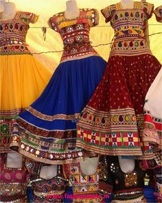 Navratri Trends RamLeela inspired trends for Navratra this season Navratri is not even a week away and most of us are already shop hopping to get the trendiest navratri chaniya choli's for this season. Afghan Clothes, Afghan Dresses, Indian Dresses, Indian Outfits, Dandiya Dress, Rajasthani Dress, India Fashion, Fashion 2014, Indian Attire