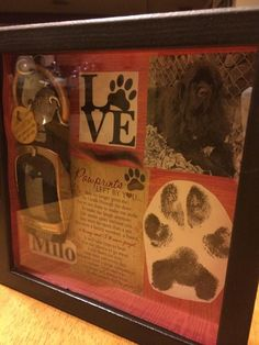 Shadow Box in memory of a pet Shadow Box in memory of a pet,Caught my eye! Shadow Box in memory of a pet Related posts:Rebel In A New Dress - FaithSpinach Artichoke Quinoa Casserole. Dog Shadow Box, Shadow Box Memory, Game Mode, Dog Memorial, Memorial Ideas, Maila, After Life, Animal Projects, Pet Loss