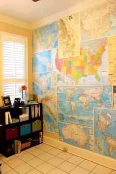 maps wall diy - Just hit the map jackpot (kijiji find), bought 60+ vintage National Geographic maps from all over the world...want to do this in the boy's room.