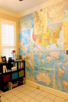 maps wall diy