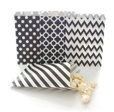 Black Bulk Paper Graduation Party Bags / Wedding Favor Goodie Bags (100 Pack) - Black Stripe, Chevron, Spanish Tile & Polka Dot Loot Bags