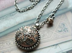 Lace Pattern Antique Button Necklace Silver and by veryDonna, $54.00