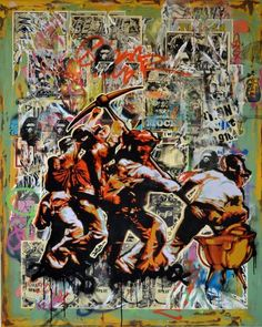 Worldart : Khaya Witbooi, The Shifting Struggle, Oil and Spray paint on Canvas. Street Harassment, Empire, Contemporary African Art, Spray Paint On Canvas, French Army, Napoleonic Wars, Consumerism, France, Art Projects