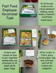 Fast Food Employee is a vocational task that shows students how to put together… Life Skills Lessons, Life Skills Classroom, Teaching Life Skills, Special Education Classroom, Autism Classroom, Autism Activities, Sorting Activities, Classroom Setup, School