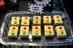 Love it - Traffic Light Rice Crispy Treats for a car themed bday party