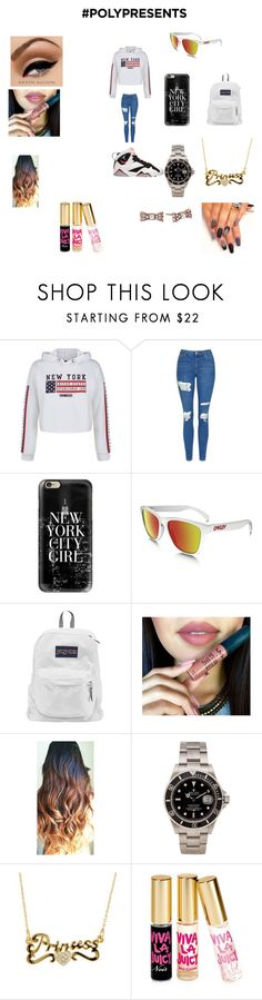 """""""#PolyPresents: Wish List"""" by nickim3340 ❤ liked on Polyvore featuring New Look, Topshop, Retrò, Casetify, Oakley, JanSport, Rolex, Juicy Couture, Kate Spade and contestentry"""