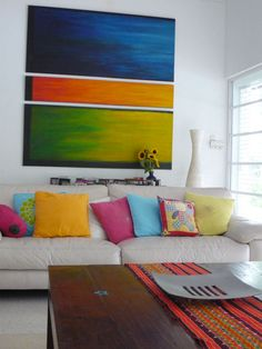 Colorful feature wall art.