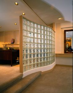 Glass block partition - another idea for Hank's office.  Not quite to the ceiling which would work if we are going for that open industrial look for the ceiling.