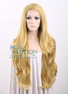 """26"""" Long Curly Blonde Lace Front Synthetic Hair Wig LF323 - Wig Is Fashion"""