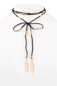 """Black faux suede choker wrap necklace with gold beads and etched leaf pendants. Approx Length:63"""""""