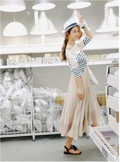 Frill long skirt for lovely look