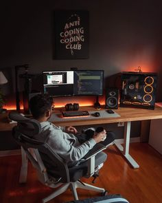 Home Office Layouts, Home Office Setup, Home Office Space, Home Office Design, Computer Gaming Room, Computer Desk Setup, Gaming Room Setup, Bedroom Setup, Room Ideas Bedroom