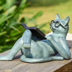 Reading cat garden statue by Wayfair