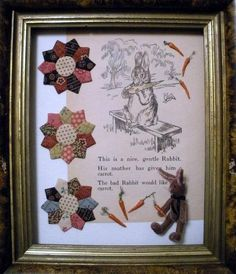 littlerabbit, book page, old quilt pieces Old Quilts, Small Quilts, Mini Quilts, Sewing Crafts, Sewing Projects, Sewing Ideas, Quilt Display, Quilting Frames, Miniature Quilts
