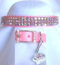 Prissy In Pink Aurora Rhinestone Dog Collar Rhinestone Dog Collar, Pink Dog Collars, Like A Cat, White Velvet, Clear Crystal, Crystal Rhinestone, Aurora, Crystals, Sterling Silver