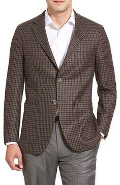 Peter Millar Classic Fit Unstructured Wool Check Sport Coat
