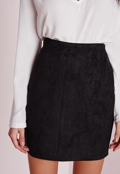 Missguided - Bonded Faux Suede Mini Skirt Black