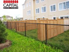 Get the best of both worlds! Wood and chain link fence combo!