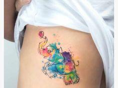 tatuaggio watercolor acquerello elefantino