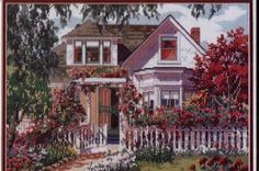 """Summer Symphony"" I actually did this one about 17 years ago and gave it to my mother-in-law framed. Cross Stitch House, Just Cross Stitch, Cross Stitch Designs, Cross Stitch Patterns, Cross Stitching, Cross Stitch Embroidery, Cross Stitch Geometric, Cross Stitch Landscape, Landscape Pictures"